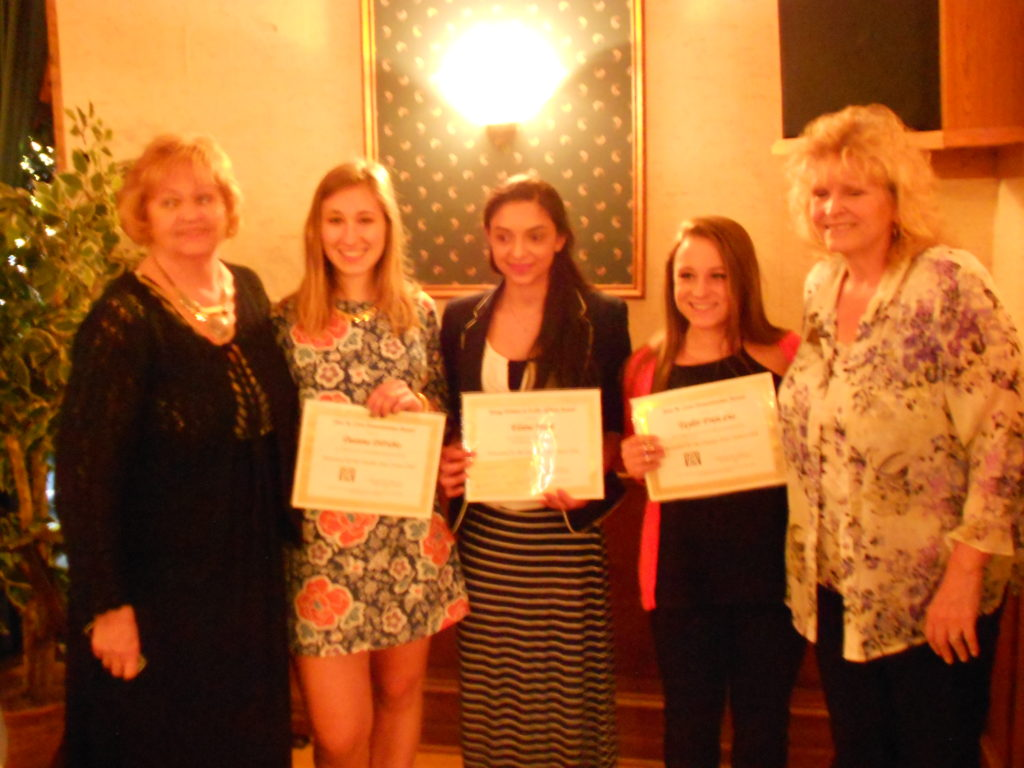 Zontians Nancy Ginter and Sue Pulverenti with YWPA and Jean Coon Award winners, Deanna DiFabio, Elaine Marji and Taylor Frisicano.